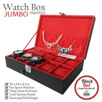 BJ10EXCBLRD Exclusive Watch Box With Lock | Kotak Tempat Jam Tangan Hitam Merah