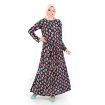 Jfashion Long Dress Gamis Maxi corak Bunga Variasi Tali - Hermione