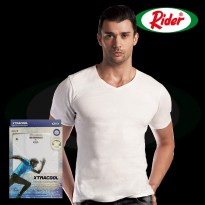 Rider Xtra Cool R259B V-Neck Tshirt Kaos Dalam Pria with Ultimate Cooling Technology - Warna Putih - isi 1 Pcs