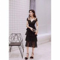 Bella Premium Dress Black Super elegant kode 1056 import premium