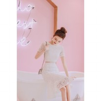 Aly Premium dress white beautiful kode 1051