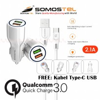 Car Charger 2 Port USB Adaptive Fast Charging Qualcomm Quick Charger 3.0 With Kabel Data Type C SMS-A45 Somostel