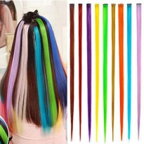 hair extension clip highlight rambut palsu warna warni unik (40cm)