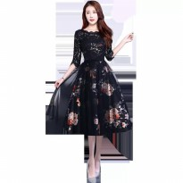 Serena Black Dress Premium Dress Import QUALITY kode 1001 party