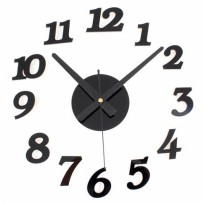 DIY Wall Clock 30-50cm Diameter - ELET00666 / Jam Dinding - Black