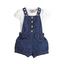 Torio Calming Blue Chambray Dungaree Set
