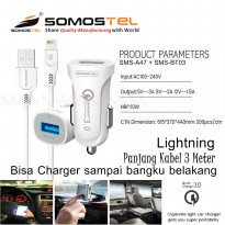 Car Charger Iphone Ipad Ipod 3 Meter LIGHTNING Fast Charging Qualcomm QC 3.0 SMS-A47 SMS-BT03 Somostel