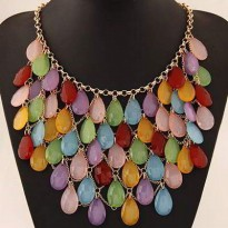 Kalung Korea Import Forever 21 Waterdrop Shape Decorated Multilayer De
