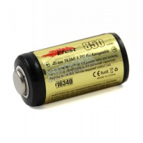 Efest 16340 Li-ion Protected Battery 850mAh with Button Top - Black/Yellow