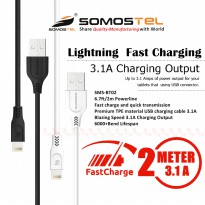 Kabel Data Charger Iphone Ipad Ipod 2 Meter Lightning Fast Charging 3.1 Ampere SMS-BT02 Somostel