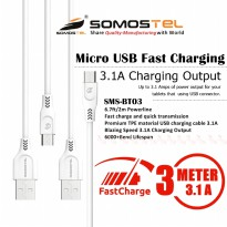 Kabel Data Charger Micro USB 3 Meter Fast Charging 3.1 Ampere SMS-BT03 Somostel
