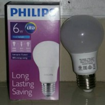 Lampu LED Philips 6 watt Bohlam 6w / Philip Putih 6 w Bulb LED 6watt