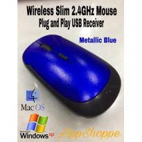 Mouse Wireless Ultra Slim Optical Mouse USB 2.4Ghz 3500 METALLIC BLUE