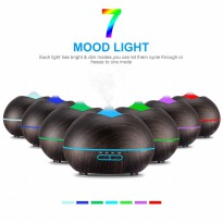 H15 - Wooden Essential Oil Aroma Diffuser Ultrasonic Aroma Humidifier 7 Color LED Light- 400ml