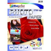 Blueprint Photo Paper (BP-GPA4190) - A4, 20 Sheet, 210 um, Cast Coasting, Glossy, Water Resistant (Mawar)