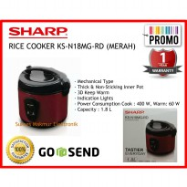 Rice Cooker Sharp KS-N18MG-RD (Red) Cap. 1.8 Liter 3in1, 400 Watt