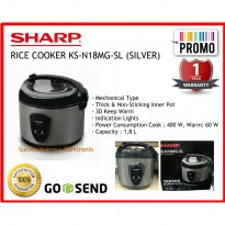 Rice Cooker Sharp KS-N18MG-SL (Silver), Cap.1.8 Liter 3in1, 400 Watt
