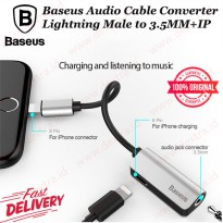 Baseus Audio Cable Converter Lightning Male to 3.5MM + IP Female Adapter