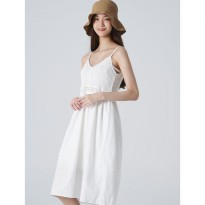 8seconds Cotton Knit Patch Pinafore Dress - Ivory