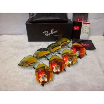 Kacamata Sunglass Rayban Aviator Diamond Hard Gold Fire Series