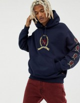 Tommy Jeans 6.0 Limited Capsule hoodie with repeat crest logo in navy