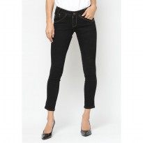 Mobile Power Ladies Angel Cut Long Pants Washing Jeans - Black JN2603
