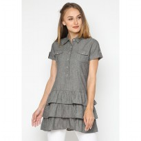 Mobile Power Ladies Short Plaid Blouse - Grey K8129