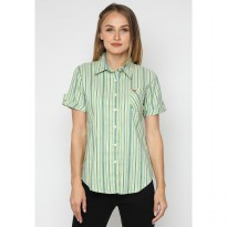 Mobile Power Ladies Basic Short Sleeve Striped Shirt - Green K8396P
