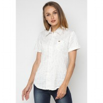 Mobile Power Ladies Basic Short Sleeve Striped Shirt -  White Green K8396V