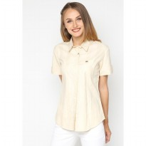 Mobile Power Ladies Basic Short Sleeve Striped Shirt -  Light Brown K8396W