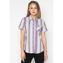 Mobile Power Ladies Basic Short Sleeve Striped Shirt -  Grey Purple K8396Y