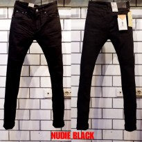 Celana Panjang Jeans Skinny Fit Nudie Black Chainstich Stretch Import Italy