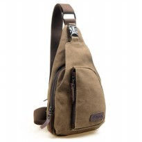 Tas Selempang Kasual Bahan Canvas - Coffee