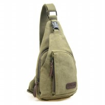 Tas Selempang Kasual Bahan Canvas - Green