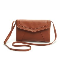 Tas Selempang Wanita Casual Leather Messenger Handbag - Brown