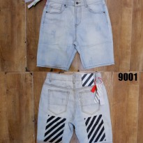 Celana Pendek Jeans Off White C/O Abloh Vintage Black Stripes Slim Fit MIRROR Quality