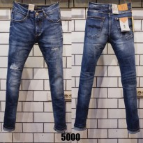 Celana Panjang Jeans NUDIE Ripped Blue Washed Skinny Fit Stretch Celana Panjang Robek Import Italy