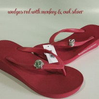 Popits Wedges 5cm Red ith Monkey  Owl Silver