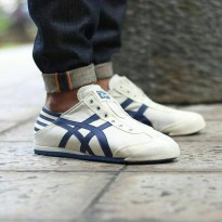 SEPATU ASICS ONITSUKA TIGER MEXICO 66 SLIP ON CREAM WHITE-NAVY