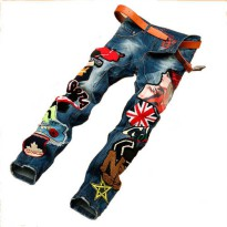 [globalbuy] Personality Embroidery Beauty Badge Patch Jeans Mens Ripped Jeans Fashion Bran/4217266