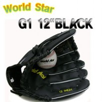 [World Star] baseball glove 12 in. Black / world star / baseball / bat / ball / children / adult / Gifts / 1 Duluth / outfielder / infielder / pitcher