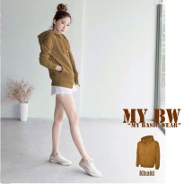 HOodie Jacket with Ziper plain colour khaki