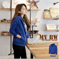 Hodie Jacket with Ziper plain colour Royal Blue