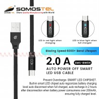 Nylon Kabel Data Charger Micro USB Auto Power Off Smart LED Fast Charging SMS-BW04 Somostel