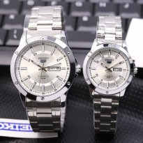 SEIKO COUPLE TANGGAL HARI SILVER COVER WHITE