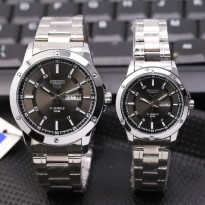 SEIKO COUPLE TANGGAL HARI SILVER COVER BLACK