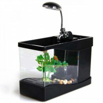 BEST USB Desktop Aquarium Mini with Running Water with dekorasi plant