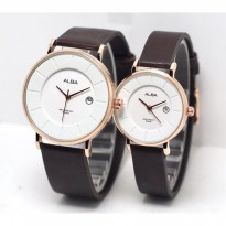 Jam Tangan Alba Couple Murah SK4883 Leather Brown Rosegold