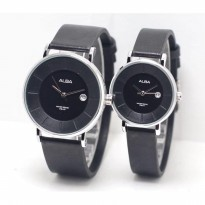 Jam Tangan Alba Couple Murah SK4883 Leather Black Silver