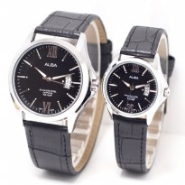 Jam Tangan Alba Couple Murah SK4940 Leather Black Silver
